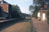 The last train ran through Clare station, Suffolk, in March 1967. Nine years later, on 6th June 1976, the premises were being well cared for as part of Clare Castle country park. This view is east towards Cavendish. It is still available to visit today, with a small museum housed in the former goods shed.<br><br>[Mark Dufton&nbsp;06/06/1976]