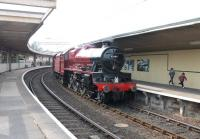 Restored 'Jubilee' 4-6-0 no 45699 <I>Galatea</I> at Carnforth station on 8 April 2013 prior to undertaking an initial test run to Hellifield [See image 59244] [see news item]. <br><br>[Mark Bartlett&nbsp;08/04/2013]