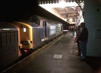 Two of the three class 37 locomotives involved with the Pathfinder Tours 'Hullaba-Looe' railtour standing at Liskeard's platform 3 on 10th February [see image 29486].<br><br>[Ken Strachan&nbsp;10/02/2013]