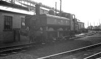 Ex-GWR 0-6-0 pannier tank no 7428 stands alongside the shed at Aberystwyth in August 1962. Attempts to obliterate the locomotive's pre-nationalisation markings appear to have been half-hearted.  <br><br>[K A Gray&nbsp;14/08/1962]
