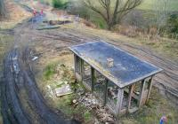 What has surely become the most photographed derelict platelayer's hut in Britain. Scene just south of Lady Victoria Colliery on 12 April 2013. View along the Waverley trackbed towards Gorebridge from the B704 road.<br><br>[John Furnevel&nbsp;12/04/2013]