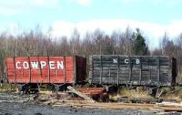 Old coal wagons in the sidings at Marley Hill in March 2013, with NCB and Cowpen Colliery (South Blyth) markings. <br><br>[Colin Alexander&nbsp;30/03/2013]