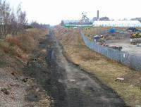 The cleared Waverley trackbed looking north from Lady Victoria Colliery towards the site of Newtongrange station in the distance on 12 April 2013. View from the B704 road. [See image 6108].<br><br>[John Furnevel&nbsp;12/04/2013]