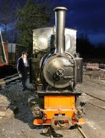 After several round trips with an evening private charter West Lancs Fireman (and Railscot contributor) John McIntyre contemplates the disposal tasks for 0-4-0T <I>Utrillas</I> on 17 April. First stop the ashpan!<br><br>[Mark Bartlett&nbsp;17/04/2013]