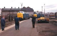 Deltic locomotives 55009 <I>Alycidon</I> and 55019 <I>Royal Highland Fusilier</I> leaving Doncaster works after the handover ceremony on 20 August 1982. The pair were about to start their journey to Grosmont. [See image 19760]<br><br>[Colin Alexander&nbsp;20/08/1982]