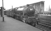 Carrying a Blackpool Central (24E) shed plate, 'Jubilee' 4-6-0 no 45584 <I>North West Frontier</I> photographed at Carlisle on 14 July 1962 with the summer Saturday 10.15 am Blackpool North - Glasgow Central through service. [See image 38208]<br><br>[K A Gray&nbsp;14/07/1962]