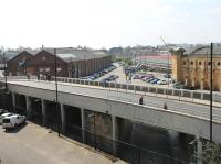 The station throat of the original York and North Midland Railway terminus, as seen from the City Walls looking south. The current York station is on the right while on the left are the old Queen St locomotive works, later the first York Railway Museum. The land in the foreground is now a car park for Network Rail's George Stephenson House offices.  <br><br>[Mark Bartlett&nbsp;20/04/2013]