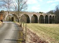 Crossing the North Esk between Auchendinny (left) and Rosslyn Castle is Firth Viaduct, seen here looking north on 20 April 2013. The 1872 viaduct now forms part of a walkway.    <br><br>[John Furnevel&nbsp;20/04/2013]