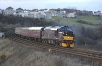 37685 <I>Loch Arkaig</I> coming off Jamestown Viaduct with empty stock returning to Bo'ness on 21 April. The third coach is Pullman car 'Amethyst'.<br><br>[Bill Roberton&nbsp;21/04/2013]