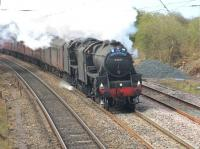 The <I>Great Britain VI</I> tour is fast becoming the <I>Black 5 tour</I>. Having brought the train from Central Wales to Preston the previous day Ian Riley's 44871 and 45407 also had to deputise for 46115 <I>Scots Guardsman</I> on the 1Z60 Preston to Edinburgh section on 23 April (Their fourth outing with GBVI in four days). They are also scheduled for further legs of the tour in Scotland. The trusty duo are seen here approaching Hest Bank.  <br><br>[Mark Bartlett&nbsp;23/04/2013]