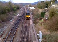 Looking East towards London and the site of Bathampton station (the white buildings just to the right of the unit) on 30 March, as the 17.08 to Gloucester comes off the line from Weymouth, heading for Bath.<br><br>[Ken Strachan 30/03/2013]