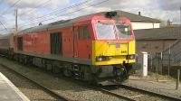 DB Schenker 60092 with the 6F81 Liverpool Bulk Terminal to Fiddlers Ferry power station passing through Warrington Bank Quay on 18 April 2013.<br><br>[Ken Browne&nbsp;18/04/2013]