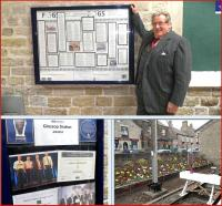 Sir William McAlpine at Glossop on 22 April to unveil a notice board  celebrating the many awards won by the Friends of Glossop Station.<br> <br><br>[John Yellowlees&nbsp;22/04/2013]