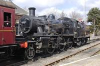 Ivatt 2MT 46512 takes on water at Boat of Garten on 21 April with the 12.30 to Broomhill.<br><br>[Bill Roberton&nbsp;21/04/2013]