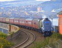 The <I>Great Britain VI</I> leaves the Tay Bridge southbound on 24 April 2013 behind 60009 <I>Union of South Africa</I>.<br><br>[Brian Forbes&nbsp;24/04/2013]