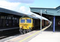 66588 brings containers through Didcot station on 26 April 2013.<br><br>[Peter Todd 26/04/2013]