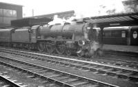 Waiting to leave Carlisle platform 4 southbound on 19 April 1962 is Polmadie Royal Scot no 46105 <I>Cameron Highlander</I>. The train is the 10.50am Glasgow Central - Liverpool Exchange. [See image 29719]<br><br>[K A Gray&nbsp;19/04/1962]