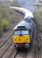 VSOE <I>Northern Belle</I> from Glasgow Central to Dundee led by 47501 and backed up by 47790 nears Inverkeithing East Junction on 28 April.<br><br>[Bill Roberton&nbsp;29/04/2013]
