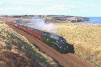 A4 Pacific no 60009 <I>Union of South Africa</I> reprises a role it would have been familiar with fifty years ago, hauling an express between Aberdeen and Edinburgh. Pictured on 24 April 2013 north of Stonehaven with the <I>Great Britain VI</I>.<br><br>[John Gray&nbsp;24/04/2013]