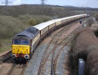 The Glasgow Central - Dundee lg of the <I>Northern Belle</I> runs through Inverkeithing East Junction on 28 April with 47790 bringing up the rear. On the front is 47501 [see image 42884].<br><br>[Bill Roberton&nbsp;28/04/2013]