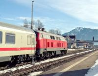Having run round its train at Immenstadt, B-B diesel-hydraulic No. 218 413 is now ready to take IC2084, the 09.25 from Oberstdorf, forward to Augsburg Hbf where it will be combined with train IC2082, the 08.35 Berchtesgaden Hbf to L�neburg.<br><br>[Bill Jamieson&nbsp;08/03/2013]