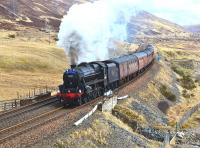 Black 5 no 44871 powers up the long climb to Druimuachdar Summit near Dalnaspidal on 25 April with the northern potion of the <I>Great Britain VI</I> railtour. <br><br>[John Gray&nbsp;25/04/2013]