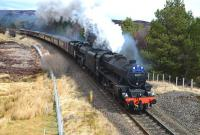 The <I>Great Britain VI</I> southbound from Inverness on 27 April, double headed by Black 5's 44871+54507, approaching the closed station at Tomatin.<br><br>[John Gray&nbsp;27/04/2013]