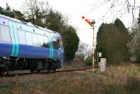 Passing Brundall outer home signal, February 2006.<br><br>[Ian Dinmore&nbsp;/02/2006]