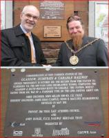 The third in the ICE series of plaques commemorating engineer John <br> Miller (the others are at Haymarket and Ayr) was unveiled at <br> New Cumnock Station on 2 May 2013 by Andy Savage, executive director of the Railway Heritage Trust and Provost Jim Todd of East Ayrshire.<br><br>[John Yellowlees&nbsp;02/05/2013]