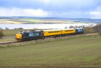 The Network Rail test train passing Evanton on the far north line on 26 April 2013, with 37218 in front and 37605 on the rear.<br><br>[John Gray&nbsp;26/04/2013]
