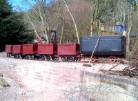A rake of wagons at Coleford on the Perrygrove Railway in March 2013. The broom leaning on the wagon on the right shows us how small these wagons are. It's the biggest of the six - and the broom isn't exactly vertical. Try that on an HAA.<br><br>[Ken Strachan&nbsp;31/03/2013]