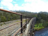 Looking across Riddings Viaduct, spanning the Liddel Water. View towards Riddings Junction on 4 May 2013.<br><br>[Bruce McCartney&nbsp;04/05/2013]