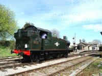 GWR 0-6-2T 5637 running round its train at Cranmore on 4 May 2013.<br><br>[Peter Todd&nbsp;04/05/2013]
