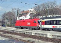 On a pleasant afternoon with no hint of the severe winter weather which would sweep across Europe a week later, �BB 'Taurus' electric No. 1016 038 is about to leave Lindau Hbf with train EC194, 12:33 M�nchen Hbf - Z�rich Hbf. On this occasion the train would terminate just over the Austrian border in Bregenz, about ten minutes away, as bus substitution applied onwards to Z�rich because of engineering work in Switzerland (hence the use of an �BB rather than the normal SBB loco).<br><br>[Bill Jamieson&nbsp;07/03/2013]