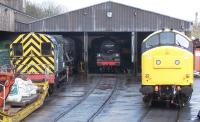 Locomotives on shed at Haworth on 27 April include 08266, 90733, 80002 and 37264.<br><br>[Colin Alexander&nbsp;27/04/2013]