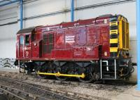 Another quality NRM restoration. 09017 is a fairly recent acquisition and arrived at the NRM in faded EWS livery but is now resplendent in maroon. The newly refurbished shunter is seen here on one of the sidings at the rear of the Great Hall, adjacent to the small exhibits collection.  <br><br>[Mark Bartlett&nbsp;20/04/2013]