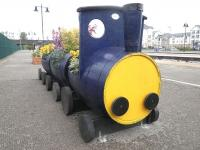 A colourful addition to the platforms at Stirling is this barrel-train planter, looked after by volunteers from Stirling Rotary Club.<br><br>[John Yellowlees&nbsp;10/05/2013]