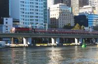 N class diesel climbing from Flinders Street Station alongside the Yarra on its way towards Southern Cross in October 2008. <br> <br><br>[Colin Miller&nbsp;04/10/2008]