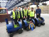 Another of the attractive barrel-train planters - this one looked after by local Rotary Clubs at Dundee.<br><br>[John Yellowlees&nbsp;10/05/2013]