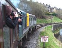 20031+20020 take a train away from Keighley on 28 April during the KWVR Diesel Gala.<br><br>[Colin Alexander&nbsp;28/04/2013]