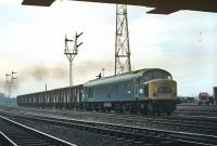 By 1970, the 13.43 Aberdeen to Kings Cross express freight (4E47) is thought to have been the last regular fish train to be operated by BR. Despite a modest load of just ten or so Blue Spot vans it was still considered important enough to qualify for Type 4 haulage. On 13 April 1970 Peak No. D187 is seen accelerating off the reverse curves at Portobello and is about to pass under the box at Portobello East Junction.<br><br>[Bill Jamieson&nbsp;13/04/1970]