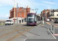 <I>Tracks to Nowhere - Yet</I>. In Talbot Square by the North Pier tram stop a new junction was installed in the refurbished tramway for a planned (but until now unfunded) branch to Blackpool North railway station. <I>Flexity</I> 009 passes over the pointwork of the projected North to East chord of a triangular junction. <br><br>[Mark Bartlett&nbsp;14/05/2013]