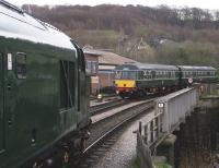 37075 waits at Keighley station on 28 April with DMU M51189 in the background.<br><br>[Colin Alexander&nbsp;28/04/2013]