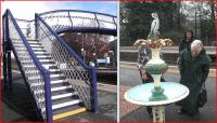 The Station and footbridge at Pitlochry have been repainted by ScotRail in advance of the 150th anniversary which will be celebrated on 9 September. Members of the Pitlochry Station Liaison Group were on hand on 14 May to see the arrival of the restored heron fountain. <br><br>[John Yellowlees&nbsp;14/05/2013]
