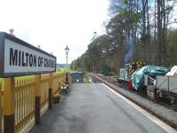 Platform scene at Milton of Crathes on 11 May 2013. Ex BR class 03 no D2094 stands in the siding on the right  <br><br>[Bruce McCartney&nbsp;11/05/2013]