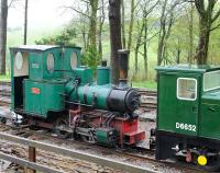 Locomotives at Woody Bay on 14 May 2013 include 0-4-0WT <I>Sid</I>, standing alongside D6652.<br><br>[Peter Todd&nbsp;14/05/2013]