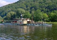 Steam on the river. The paddle steamer <i>Pirna</i>, built in 1898 as the <i>K�nig Albert</i> and renamed in 1919, still plies the River Elbe south of Dresden through 'Saxon Switzerland' and is seen here at Bad Schandau in the summer of 2001.<br><br>[Bill Jamieson&nbsp;26/06/2001]