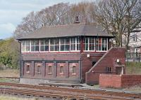 The former North box at Barrow-in-Furness, photographed in April 2002. The style leaves no doubts as to which railway it was built for, despite the lack of any identification, at least on the side facing the station.<br><br>[Bill Jamieson&nbsp;13/04/2002]