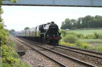 Originating in Kilmarnock the <I>Fylde Coast Express</I> was steam hauled over the S&C and on to Blackpool on 22 May 2013 by Black 5 44932. It is seen here on the approach to Poulton-le-Fylde, just a few minutes away from its destination.  Relatively few steam excursions use the Blackpool line and the return leg of this charter retraced the route but was diesel hauled throughout. <br><br>[Mark Bartlett&nbsp;22/05/2013]