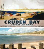 Above is a poster depicting Cruden Bay Hotel, built amongst the dunes north of Aberdeen by the GNSR to cater for golfers using the championship course. An electric tramway ran from Cruden Bay Station on the Boddam branch. The hotel was demolished after WW II, though the exceptional golf course remains. Below is the view in 2013. [See image 40796]<br><br>[Brian Taylor&nbsp;/05/2013]
